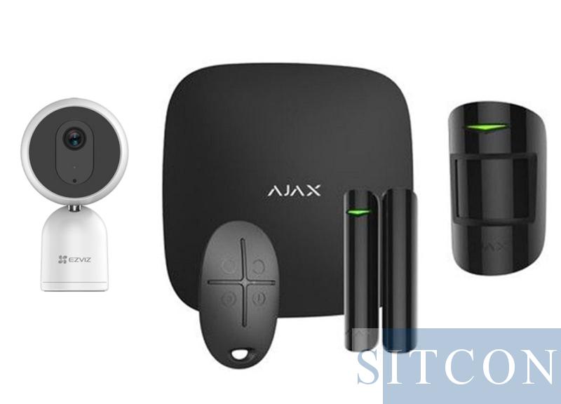Alarmsysteem Zwart + IP binnencamera SMART